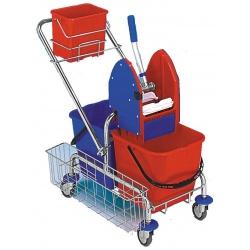 Vozík CLAROL 2x17 PLUS komplet - ždímač, kbelík, košík na bok