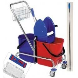 Úklidový set - vozík 2x17l + ždímač + košík + teleskopická tyč + držák mopu 40cm + mop 40c