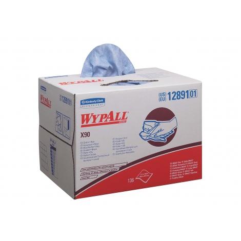 WYPALL - X90 - Utěrky v Brag krabici, 136 ks, 2 vr., 42,7 x 28,2 cm, modré